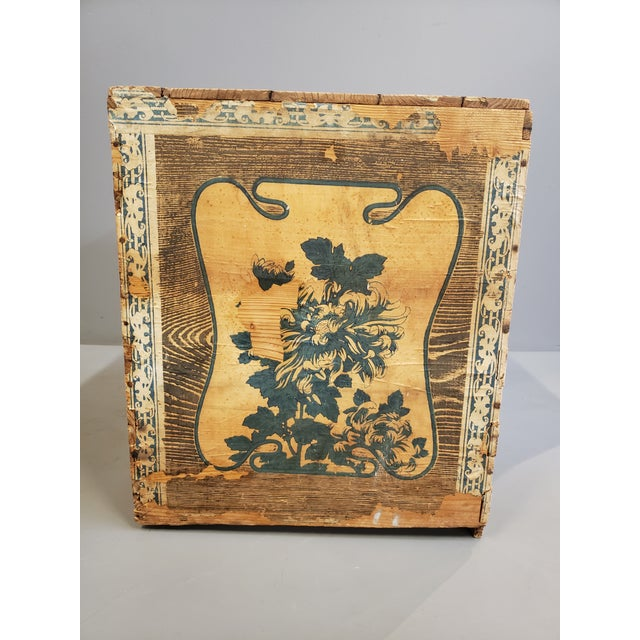 Antique Japanese Tea Crate on Stand Side Table For Sale - Image 4 of 13