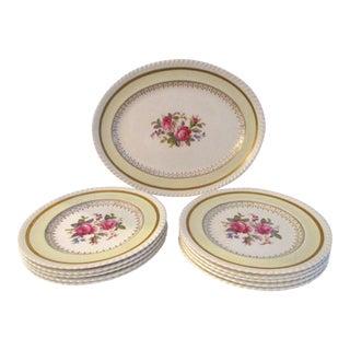 1940s English Johnson Bros. Windsor Ware Floral Dessert Set Service for 10 For Sale