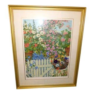"""""""Spring Garden"""" Original Serigraph by John Powell, Framed For Sale"""