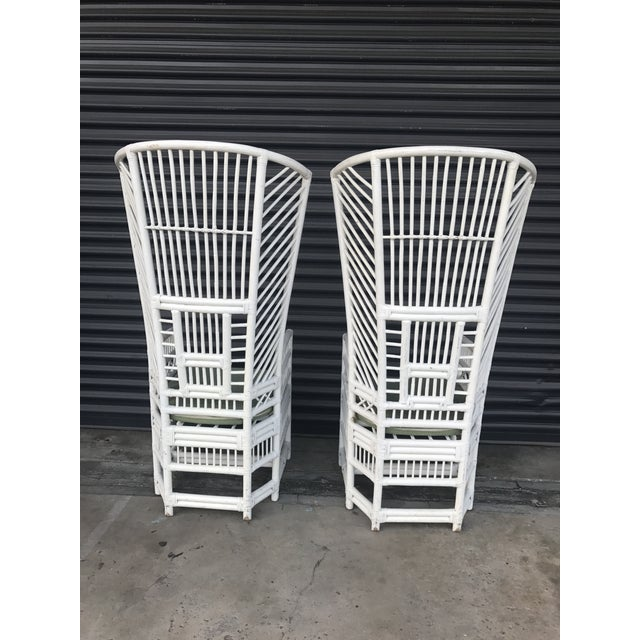 Vintage Rattan High Back Chairs - a Pair - Image 5 of 11