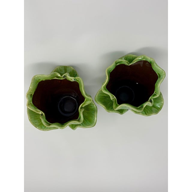 2010s Modern Majolica Leaf Planters - A Pair For Sale - Image 5 of 8