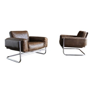1960s Vintage Sven Ivar Dysthe for Dokka Mobler Norway Leather Lounge Chairs- A Pair For Sale
