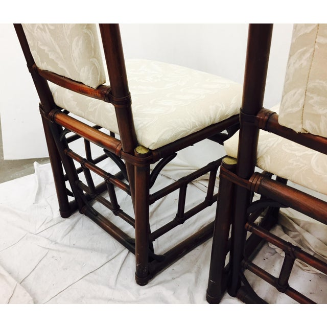 Vintage Bamboo & Rattan Dining Chairs - Set of 4 - Image 8 of 11