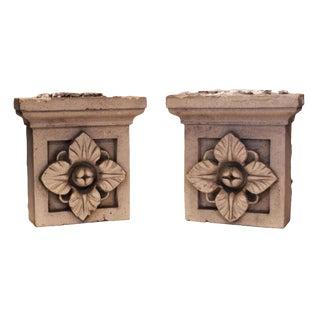 Glazed Ceramic Capitals - A Pair