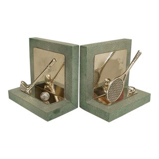 English Art Deco Green Shagreen Bookends- A Pair For Sale