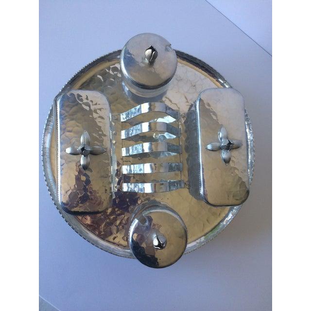 Vintage Lazy Susan Rodney Kent Hammered Aluminum Breakfast Set - Set of 6 - Image 4 of 9