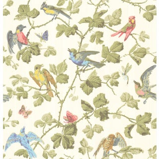 Cole & Son Winterbirds Classic Botanical Style Wallpaper Sample For Sale