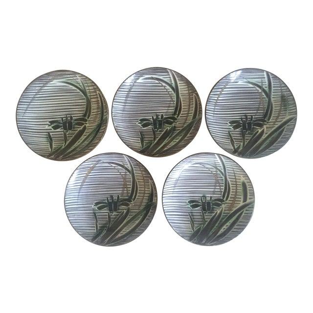 Vintage Mid-Century Modern Occupied Japan Irises Ceramic Plate Bowls - 5pc Set For Sale