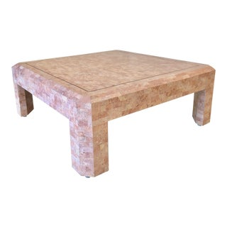 Maitland Smith Hollywood Regency Pink Tessellated Stone Coffee Table For Sale