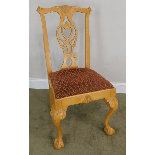 1990s Lexington Solid Pine Chippendale Style Ball & Claw Carved Pair Side Chairs For Sale - Image 5 of 13