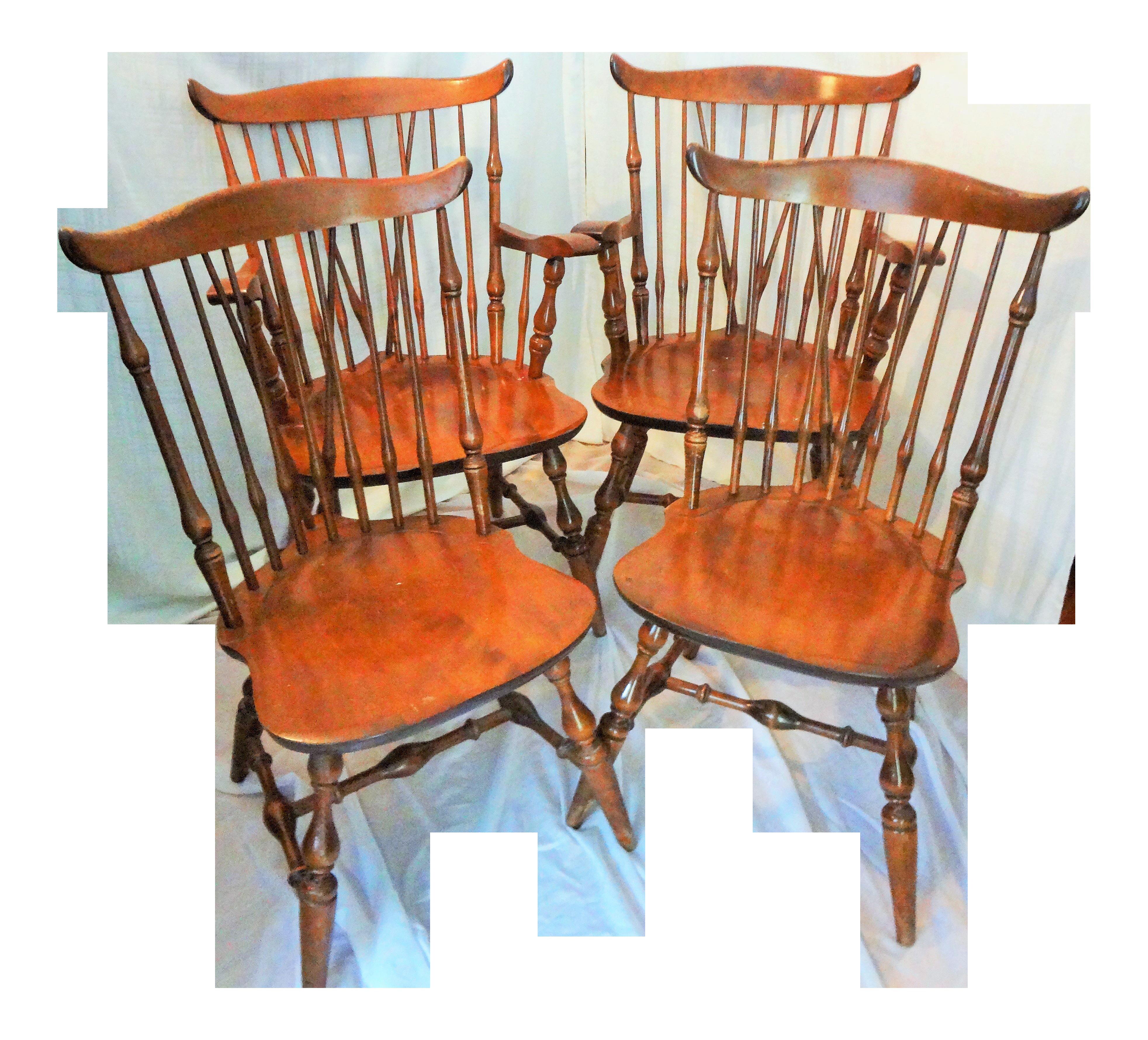 Mid Century Nichols U0026 Stone Fan Back Chairs   Set Of 4 For Sale