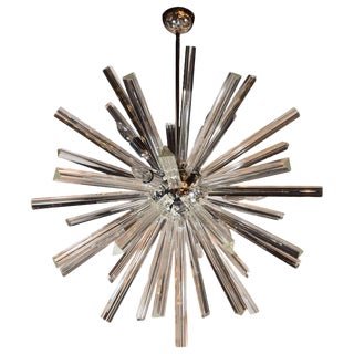 Modernist Murano Glass Triedre Polished Chrome Sputnik Chandelier