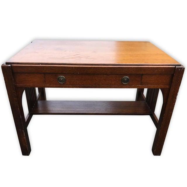 Antique Mission Oak Arts & Crafts Desk - Image 2 of 6