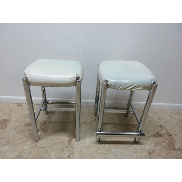 Mid-Century Cal Style Chrome Counter Bar Stools - A Pair For Sale - Image 5 of 11