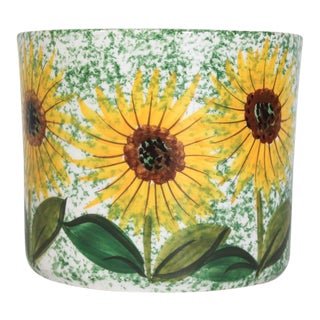 Hand Painted Ceramic Italian Planter W/ Sunflowers For Sale