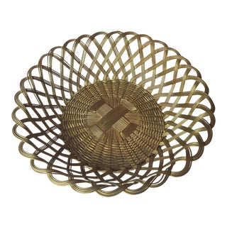 1960s Boho Hand Made Indian Woven Brass Round Basket For Sale