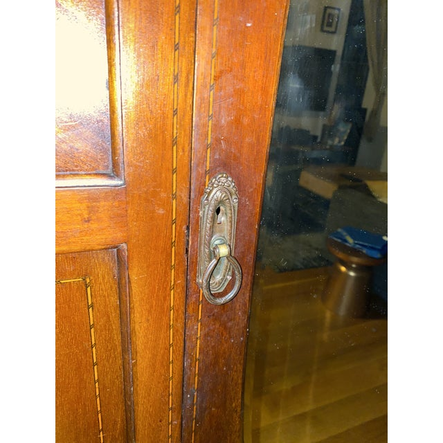 Late 19th Century Late 19th Century Edwardian Wardrobe Cabinet With Mirror and Mother of Pearl Inlays For Sale - Image 5 of 8