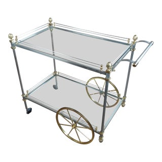 "Maison Jansen Style ""Hollywood Regency"" Metal & Glass Bar Cart For Sale"