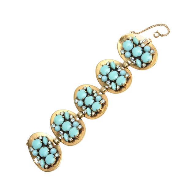 Schiaparelli 5-Disc Cluster Faux Turquoise and Rhinestone Bracelet For Sale