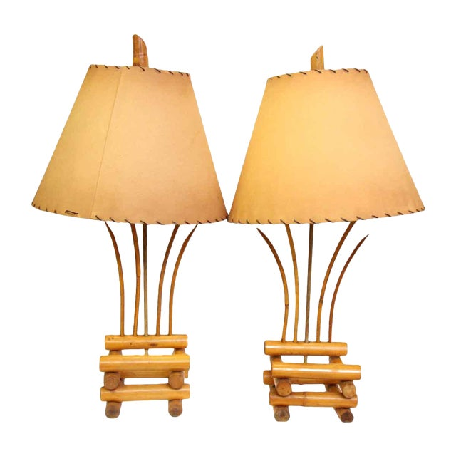Bamboo Lamps - a Pair For Sale