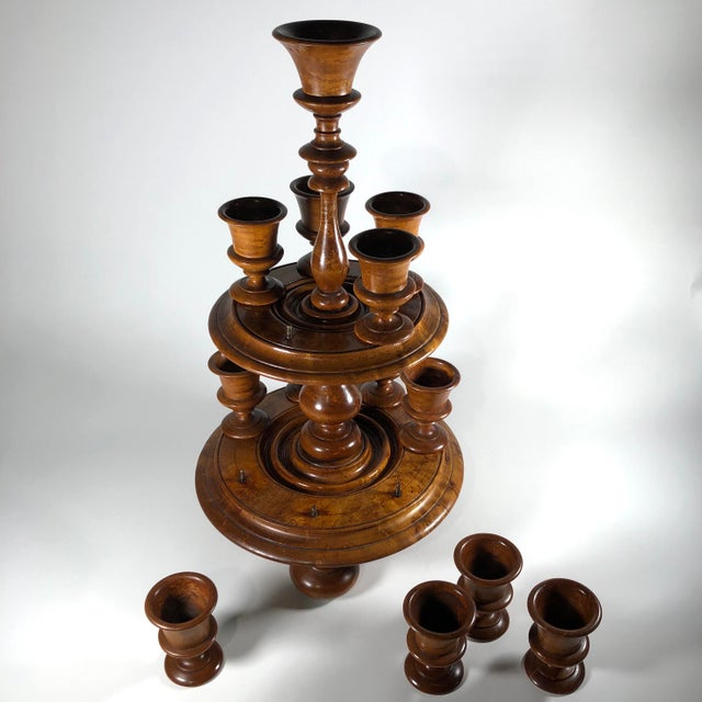 19th-Century English Treenware Egg Cruet With Cups - 13 Piece Set For Sale - Image 4 of 7