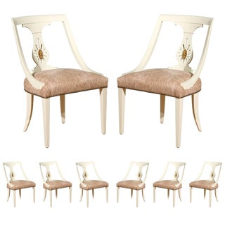 Rare Set of Eight Dining Chairs by Renzo Rutili For Sale