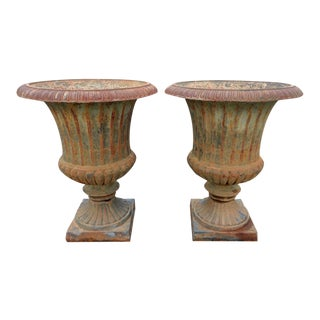 Monumental Campana Cast Iron Urns- a Pair For Sale