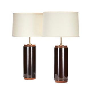 Heyward Lamp in Storm Glaze With Walnut Details - a Pair For Sale