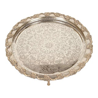 Moroccan Handcrafted Silver Round Tray For Sale