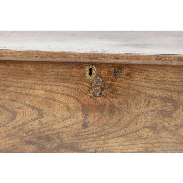 Rustic Chestnut Trunk With Over-Scale Iron Hinges, English Circa 1860. For Sale - Image 11 of 13