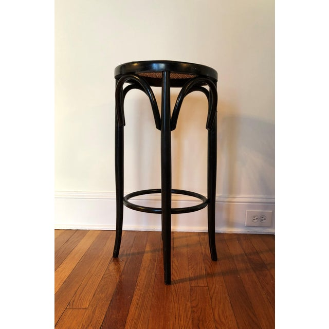 Black Talian Antique Bentwood and Cane Cafe Stool For Sale - Image 8 of 10