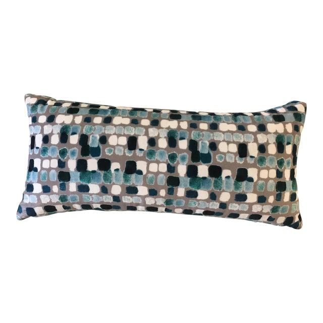 "Dominique Kieffer ""Maquillage, Caraibi Gris"" Fabric Lumbar Pillow For Sale"