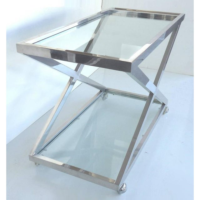 Mid-Century Modern Mid-Century Modern Nickel-Plated Tea Trolley or Bar Cart For Sale - Image 3 of 9