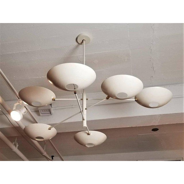 Not Yet Made - Made To Order Large 'Counterbalance' Chandelier in White Enamel + Brass by Blueprint Lighting For Sale - Image 5 of 11