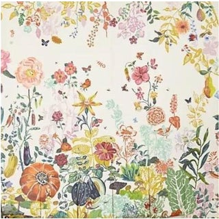 Great Meadow Jardin Creme Panels Mural Wallpaper Designed by Nathalie Lete - Set of 8 For Sale