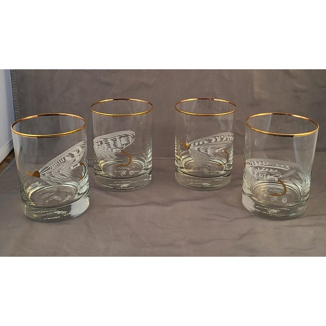 Set 4 New Old Stock Winnie Staniford Designs Gold Rimmed Fly Fishing Rocks Glasses For Sale - Image 9 of 9