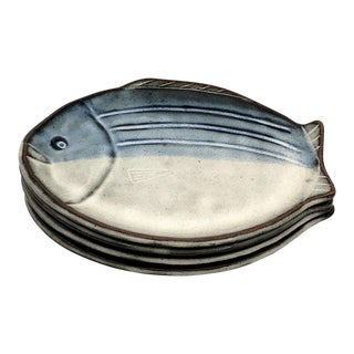 Late 20th Century Vintage Japanese Handmade Fish Shaped Plates - Set of 4