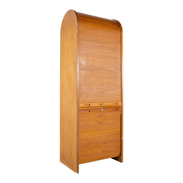 Mid Century Teak Tambour Door Upright Storage Credenza For Sale