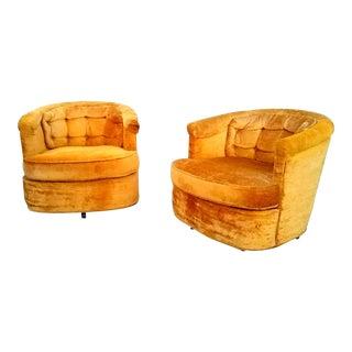 Mid Century Goldenrod Swivel Tub Chairs- Pair