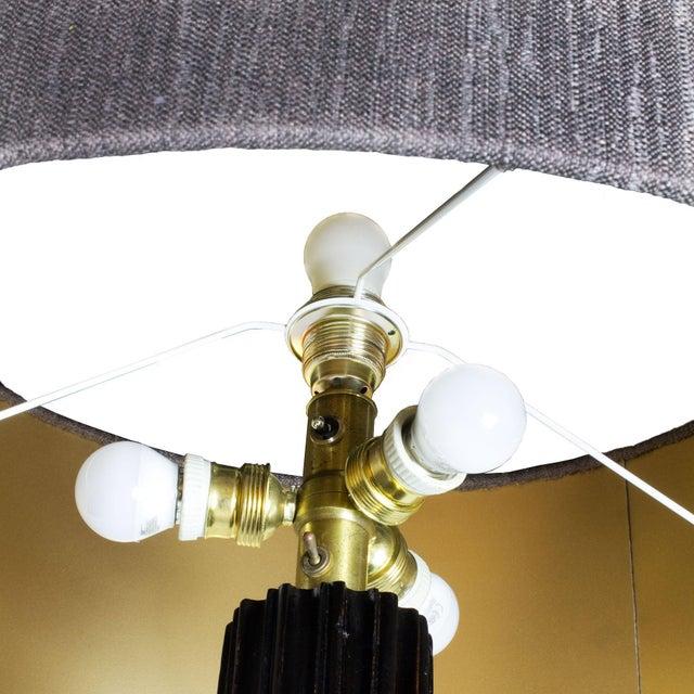 1960s Standing Lamp, Striated Walnut Stand, Brass, Jordi Vilanova - Barcelona For Sale - Image 6 of 10