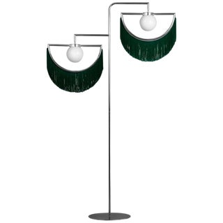 Wink Gold-Plated Floor Lamp Postmodernist Style With Green Fringes For Sale