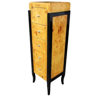 Burled Wood Art Deco Style Chest For Sale