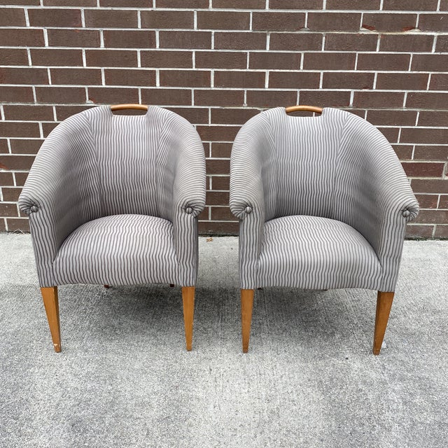 John Hutton for Donghia Plato Mod Barrel Chairs - a Pair For Sale - Image 13 of 13