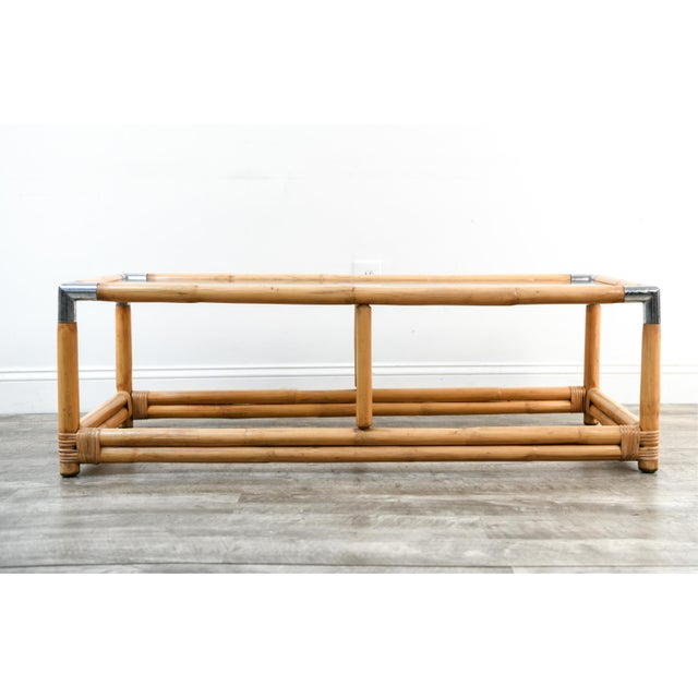 Vintage Italian Rattan Coffee Table a La Crespi For Sale In New York - Image 6 of 6