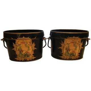 Vintage F. Francis Son Ltd. English Chinoiserie Decorated Buckets - a Pair
