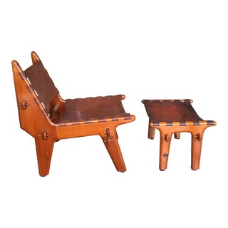 Mid 20th Century Angel Pazmino Teak & Tooled Leather Chair & Ottoman - a Pair