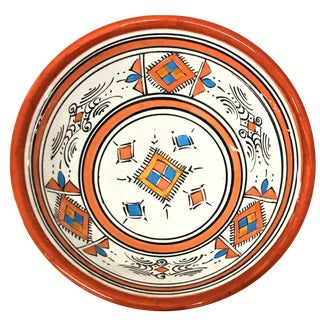 Moroccan Hand-Painted Small Orange Ceramic Bowl
