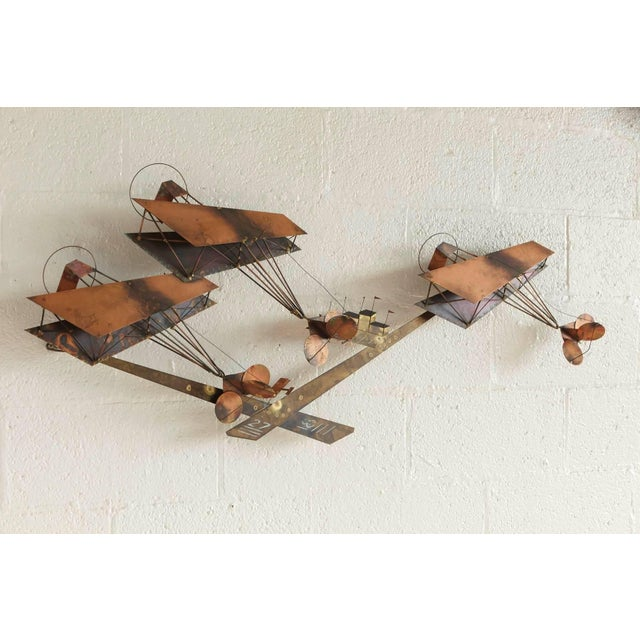 1970s Curtis Jere Brass Wall Sculpture of Airplanes and Airfield, Signed, 1970s For Sale - Image 5 of 11
