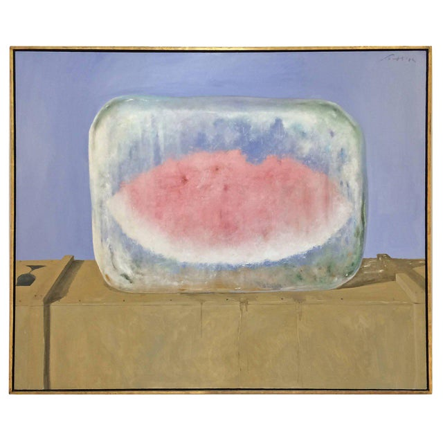 """""""Watermelon on Ice"""" Oil Painting on Canvas by Julio Larraz - Image 1 of 1"""