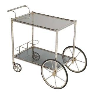Vintage French Brass & Steel Tea or Bar Cart For Sale